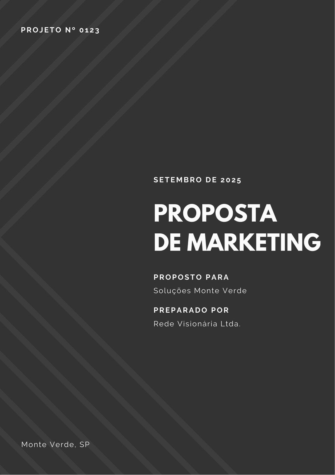 Preto e Branco Linhas Diagonais Marketing Proposta