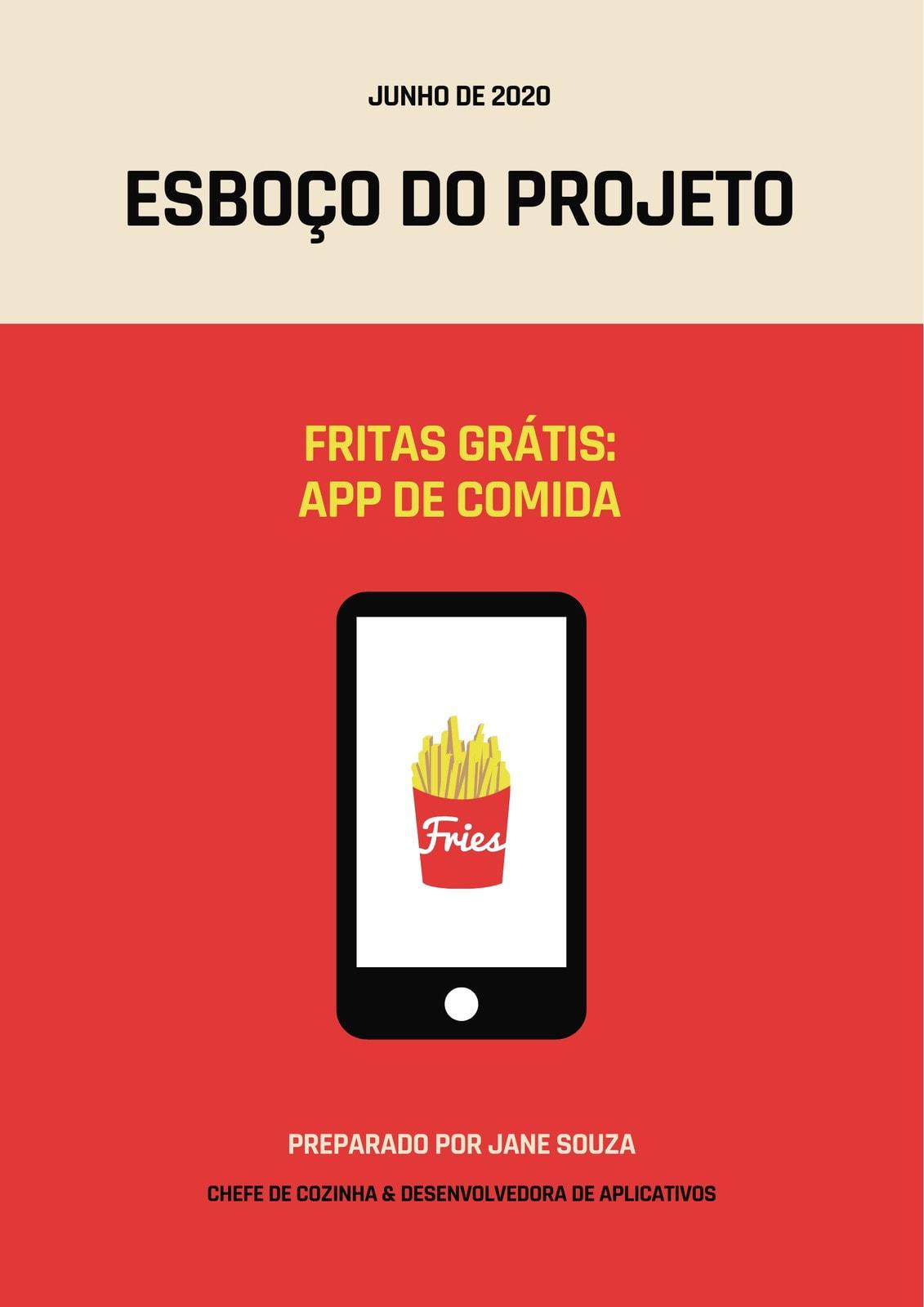 Vermelho e Creme Tablet Fritas Documento Esboço de Projeto