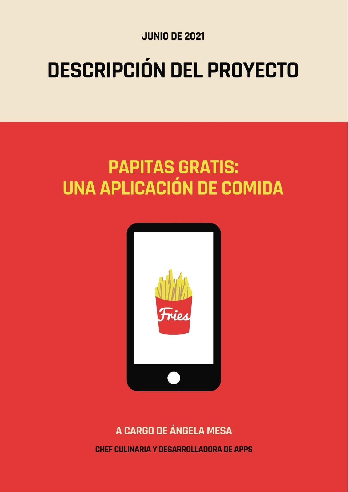 Rojo y Crema Tablet Papas Documento Descripción de Proyecto