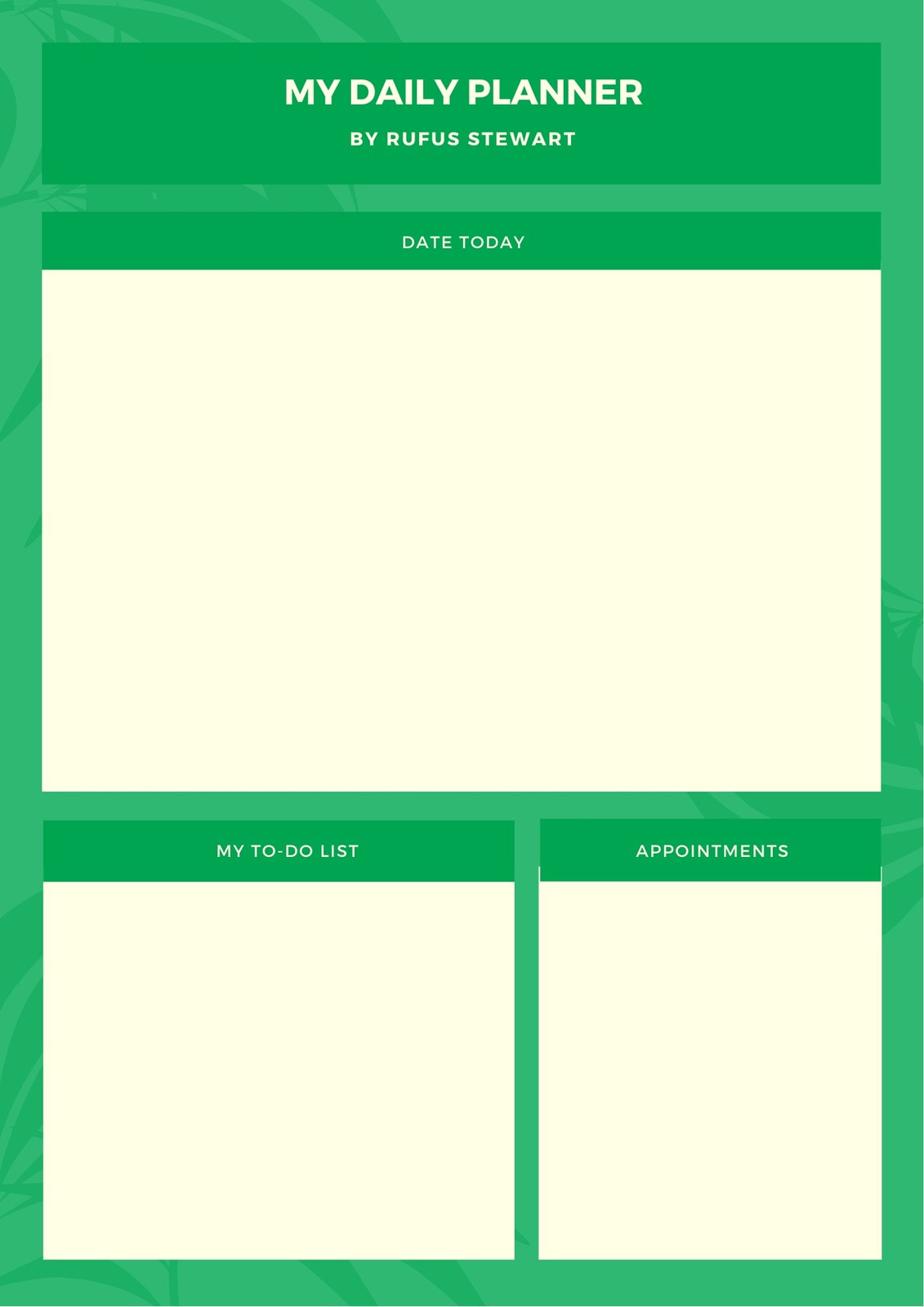 Green Tropical General Daily Planner