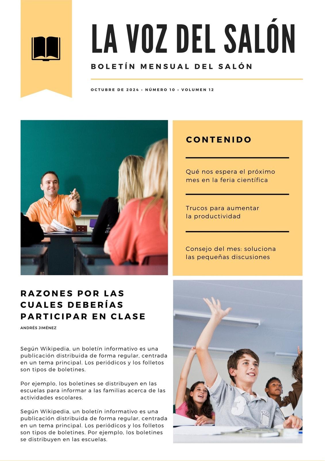 Amarillo y Blanco Moderno Creativo Salón de Clase Boletín Informativo