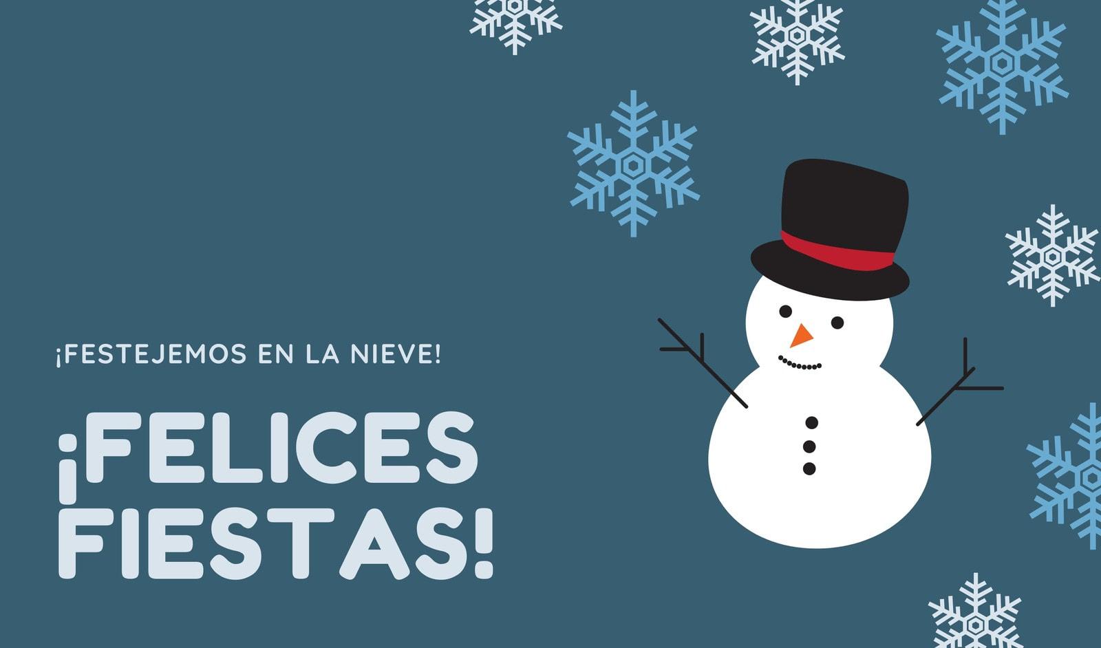Turquesa Hombre de Nieve y Copos de Nieve Navidad Etiqueta