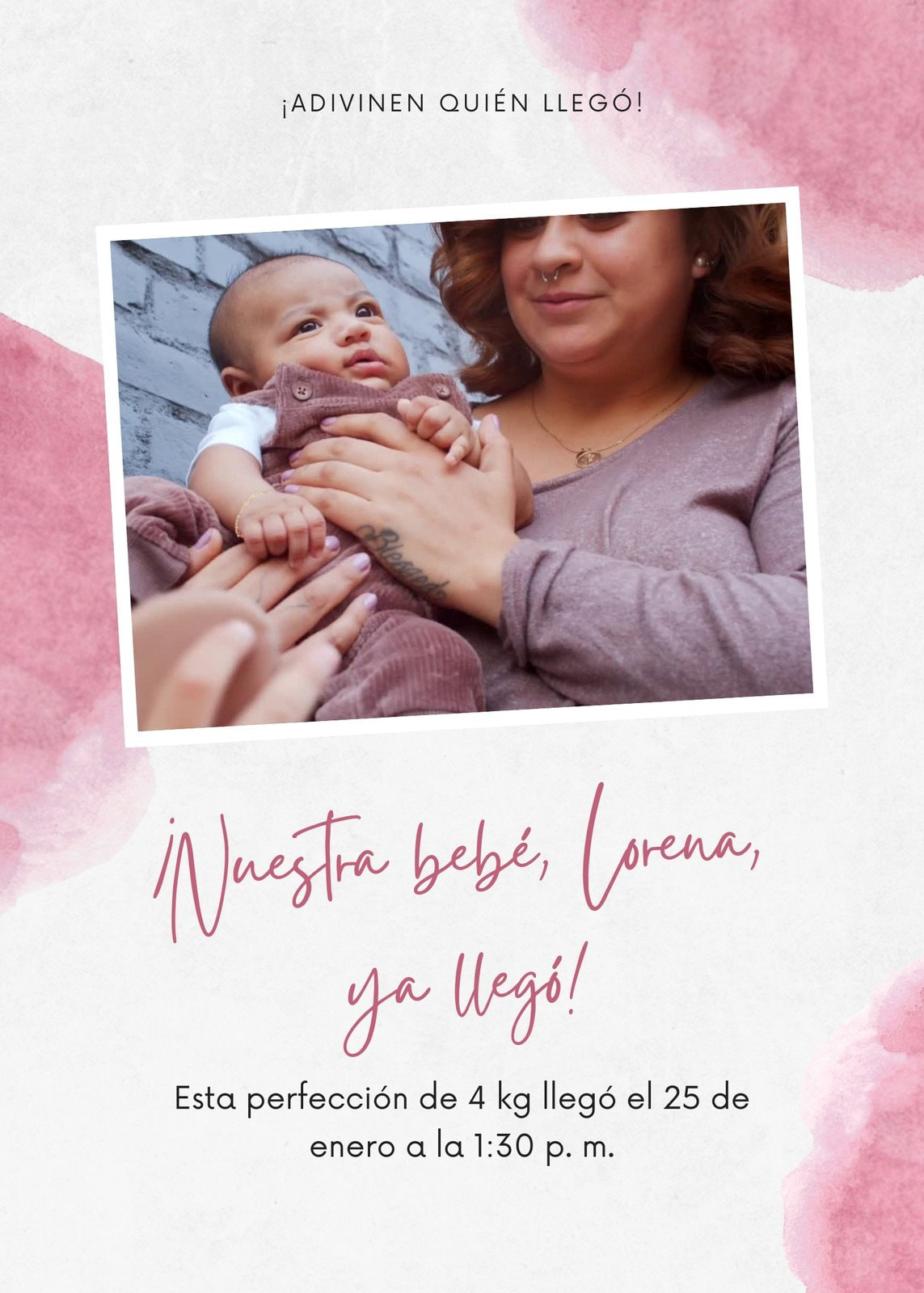 Rosa Video Acuarela Nacimiento Animado Anuncio de Bebé