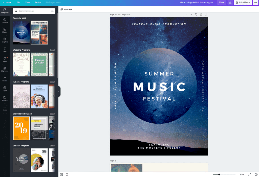 How to make an event program - Canva