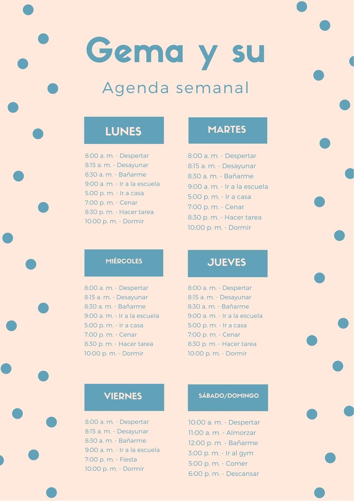 Azul y Durazno Lunares General Horario Semanal