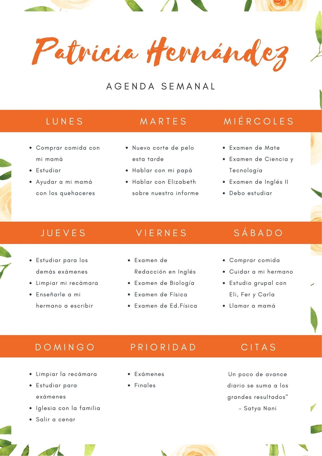 Naranja Floral Patrón General Horario Semanal