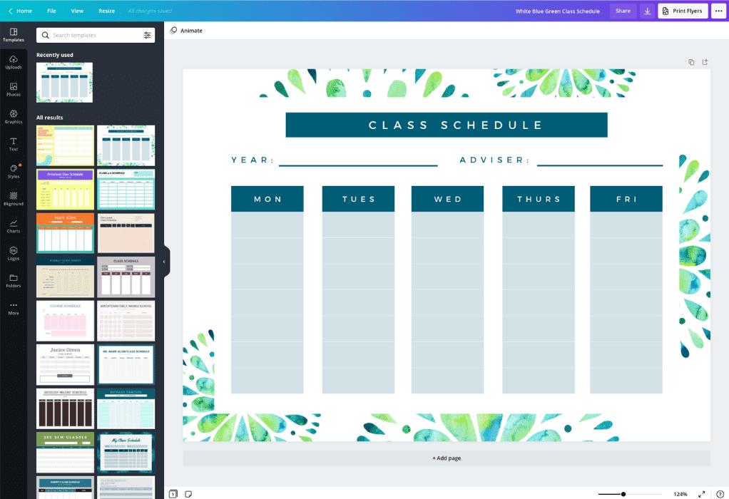 Como criar uma tabela de horários de aulas - Canva