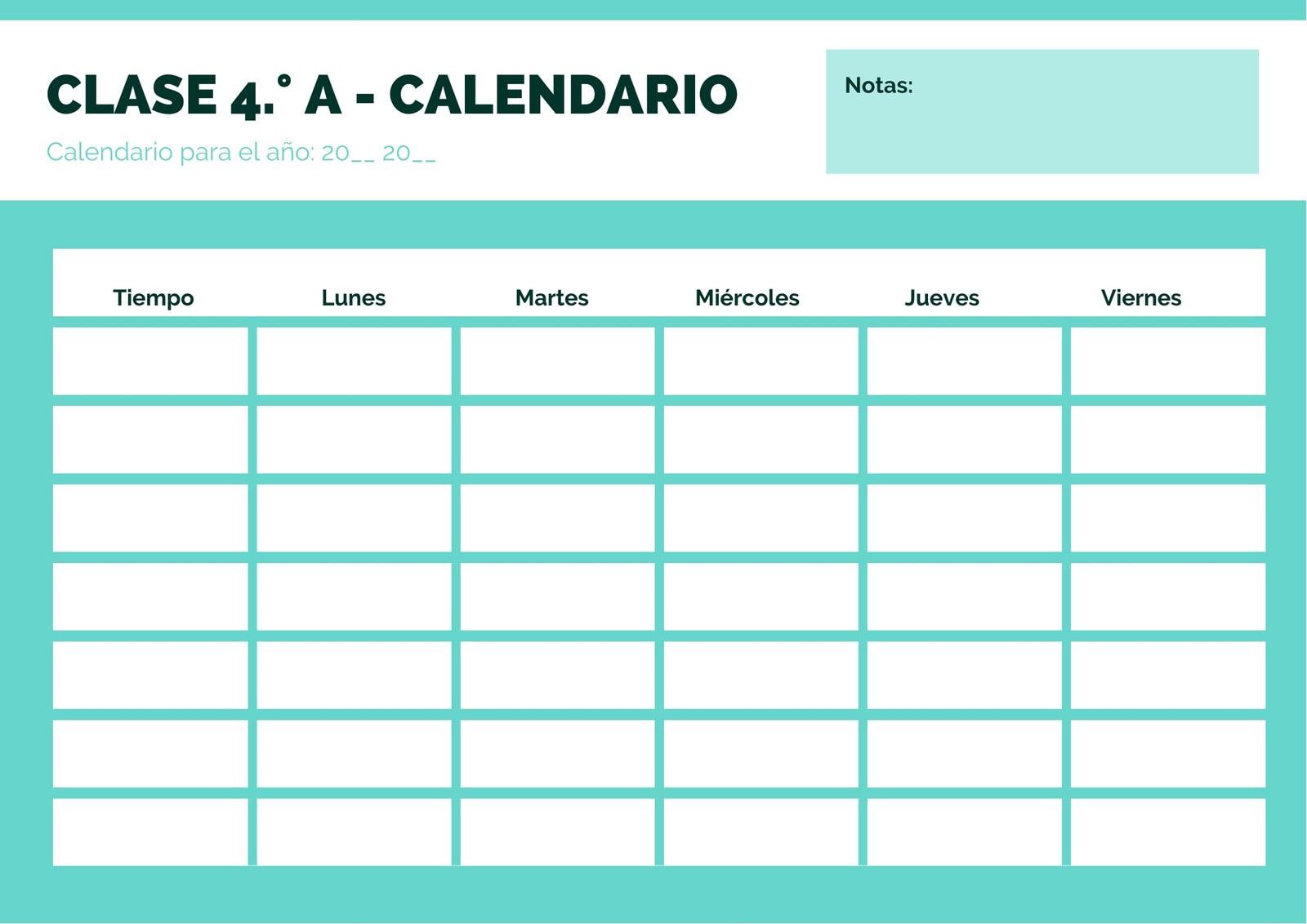 Azul Simple Clase Calendario