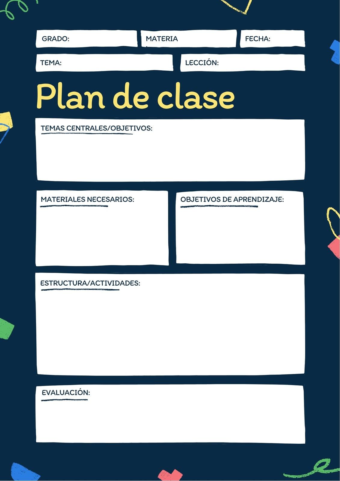 En Blanco Pizarrón Plan de Clase