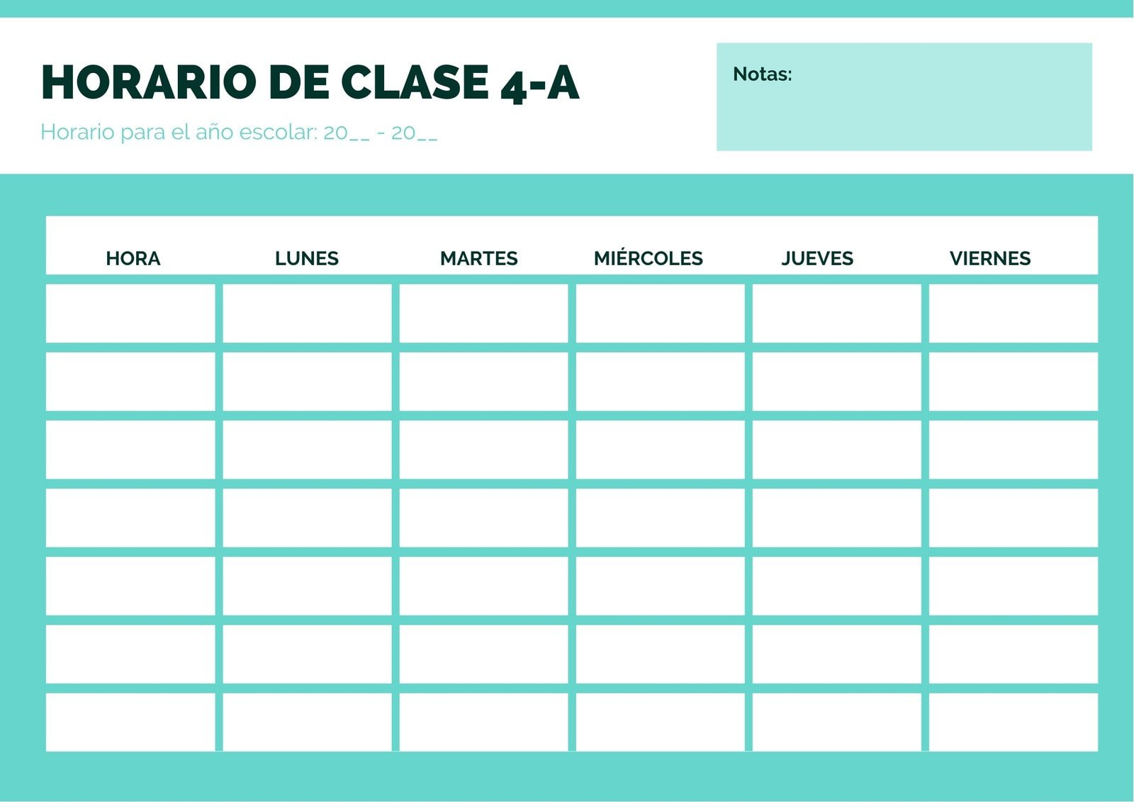 Verde Blanco Sencillo Horario de Clase