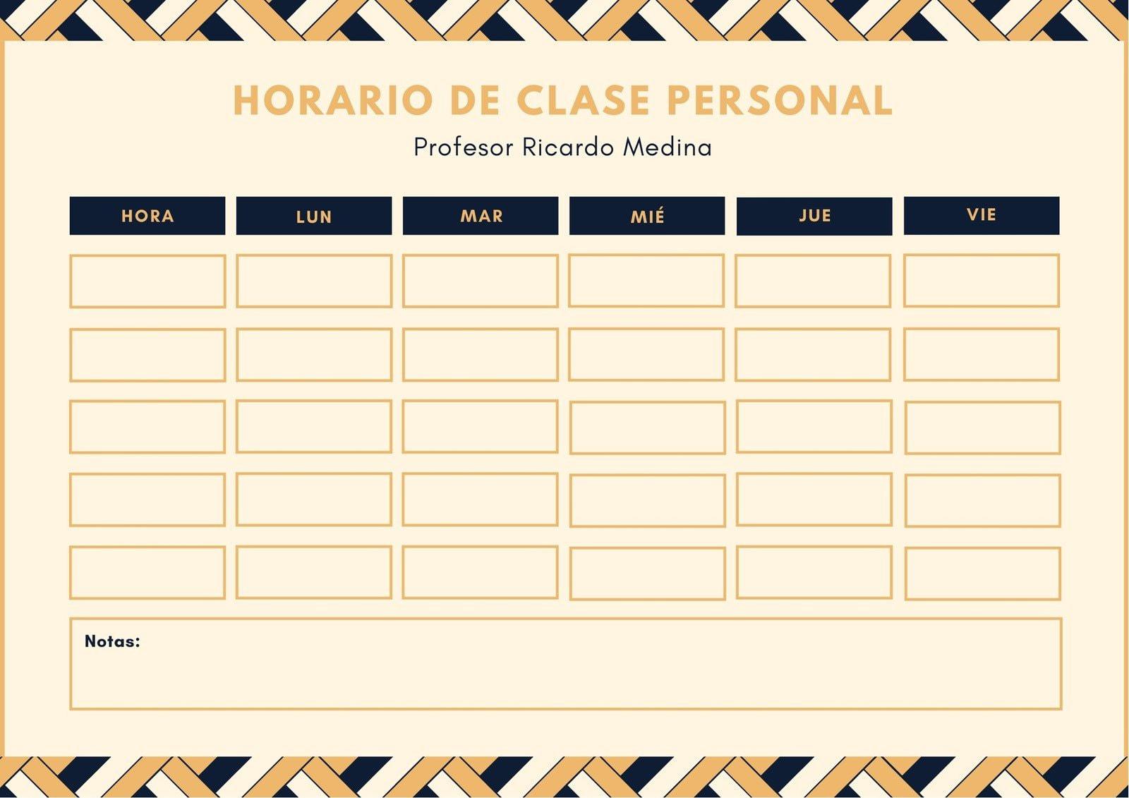 Geométrico Estampado Profesor Horario de Clase Amarillo y Azul Oscuro Calendario