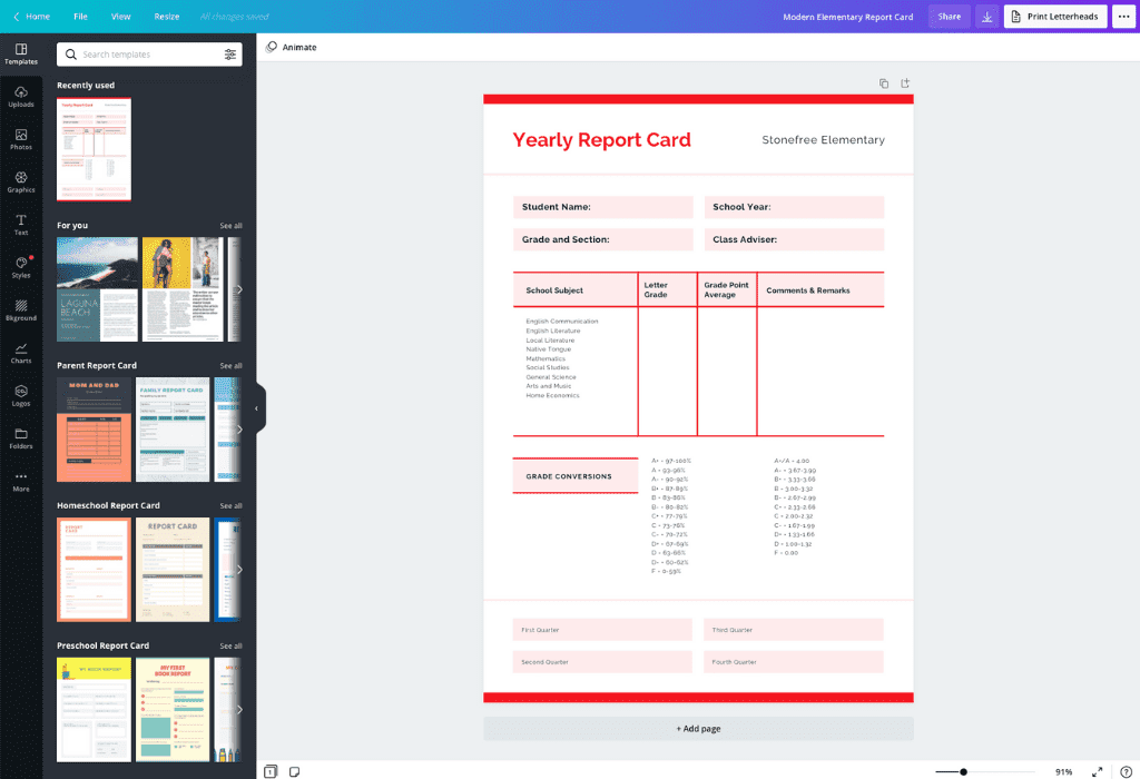 How to make a report card - Canva