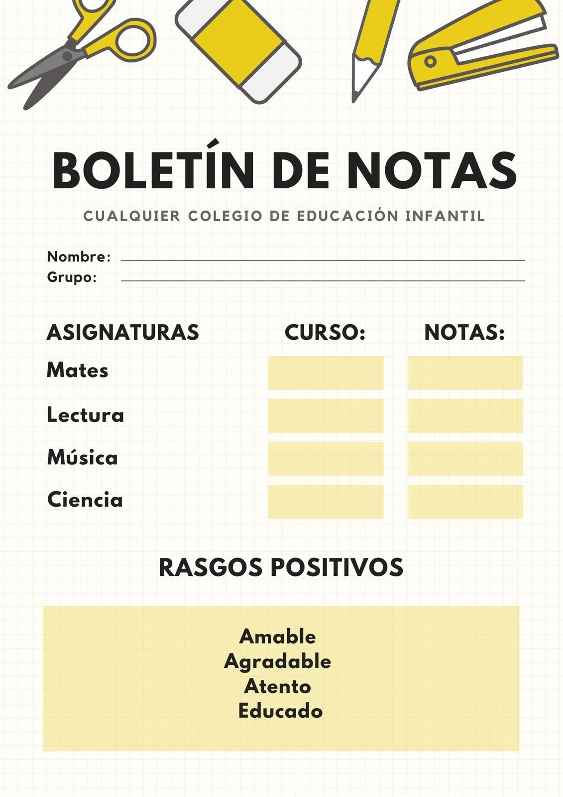 Boletín de Notas Educación Infantil Amarillo y Blanco Lápiz y Cuadrículas