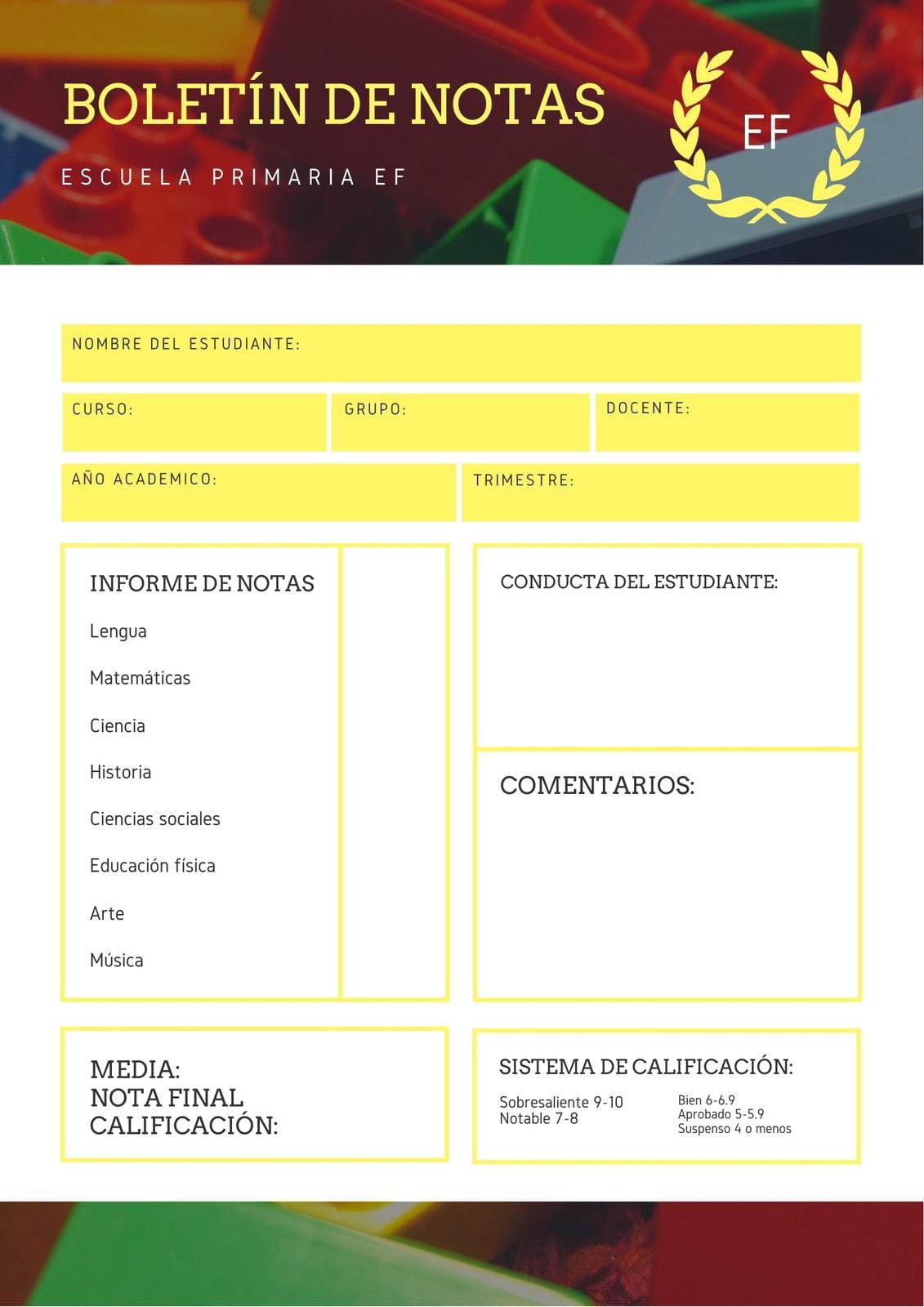 Tarjeta Boletín de Notas Amarillo Foto Escuela Primaria