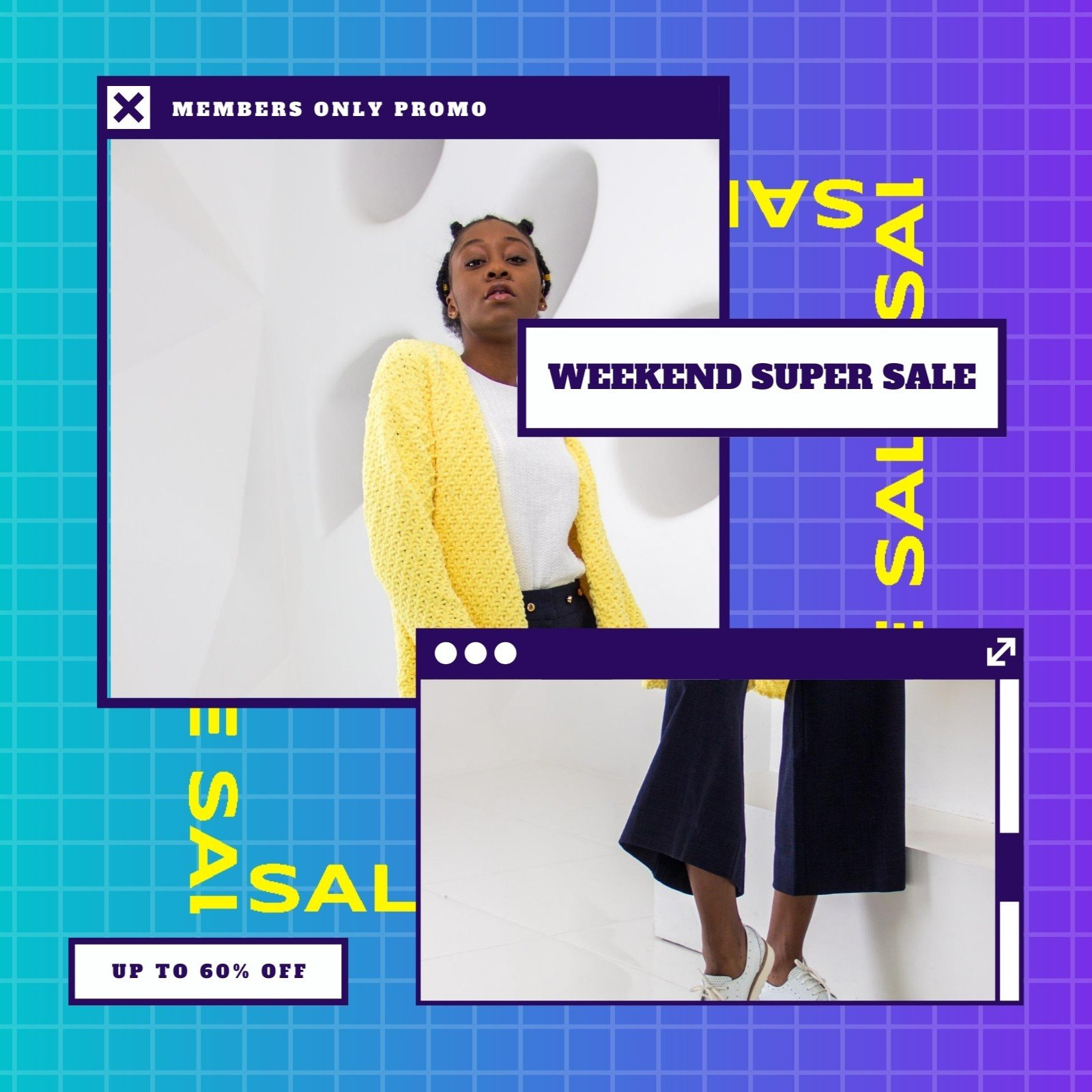 Purple and Yellow Sale Animated Social Media