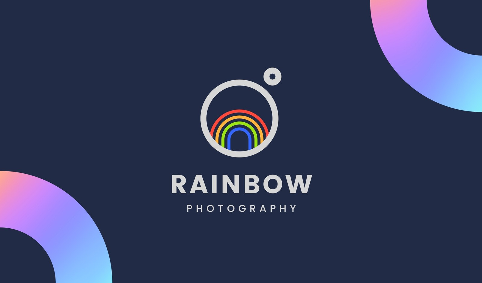 Minimal Circle Rainbow Business Card