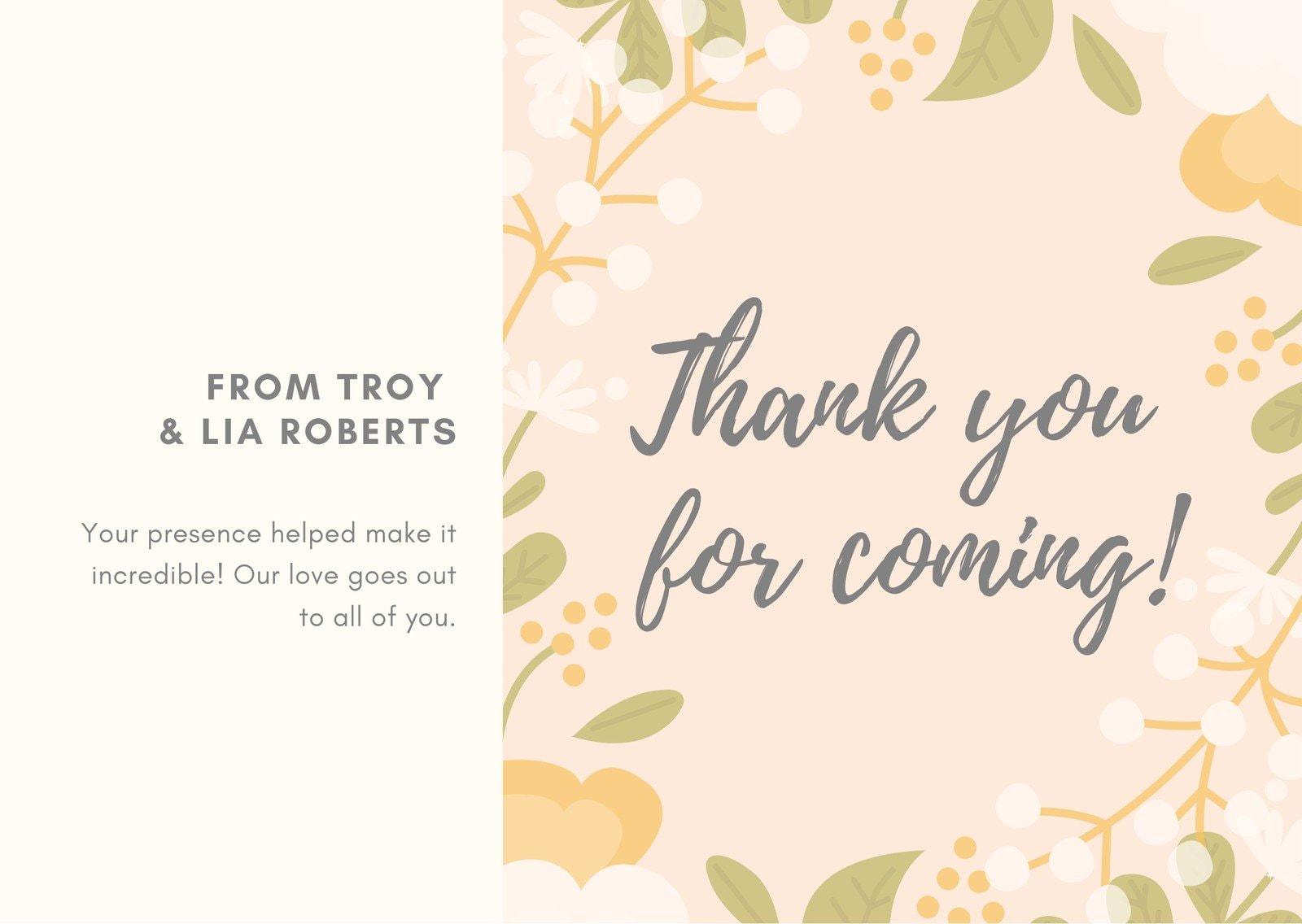 Beige Floral Wedding Thank You Card
