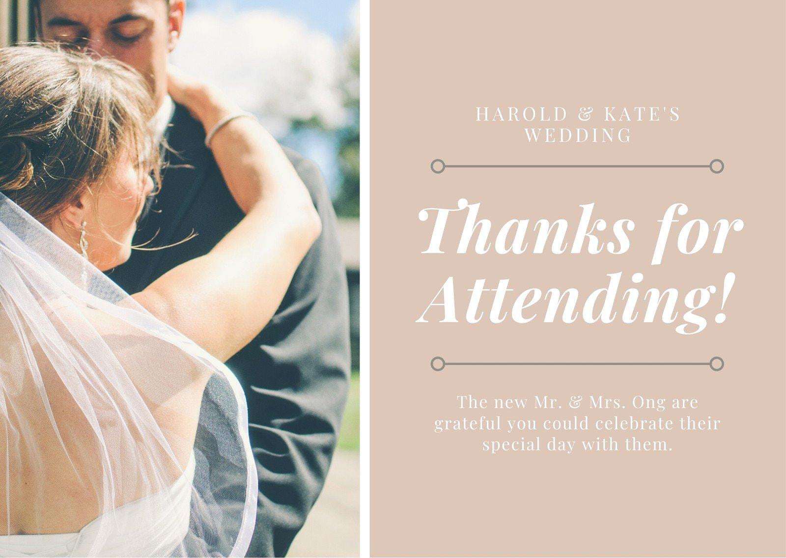 Beige Grid Wedding Thank You Card