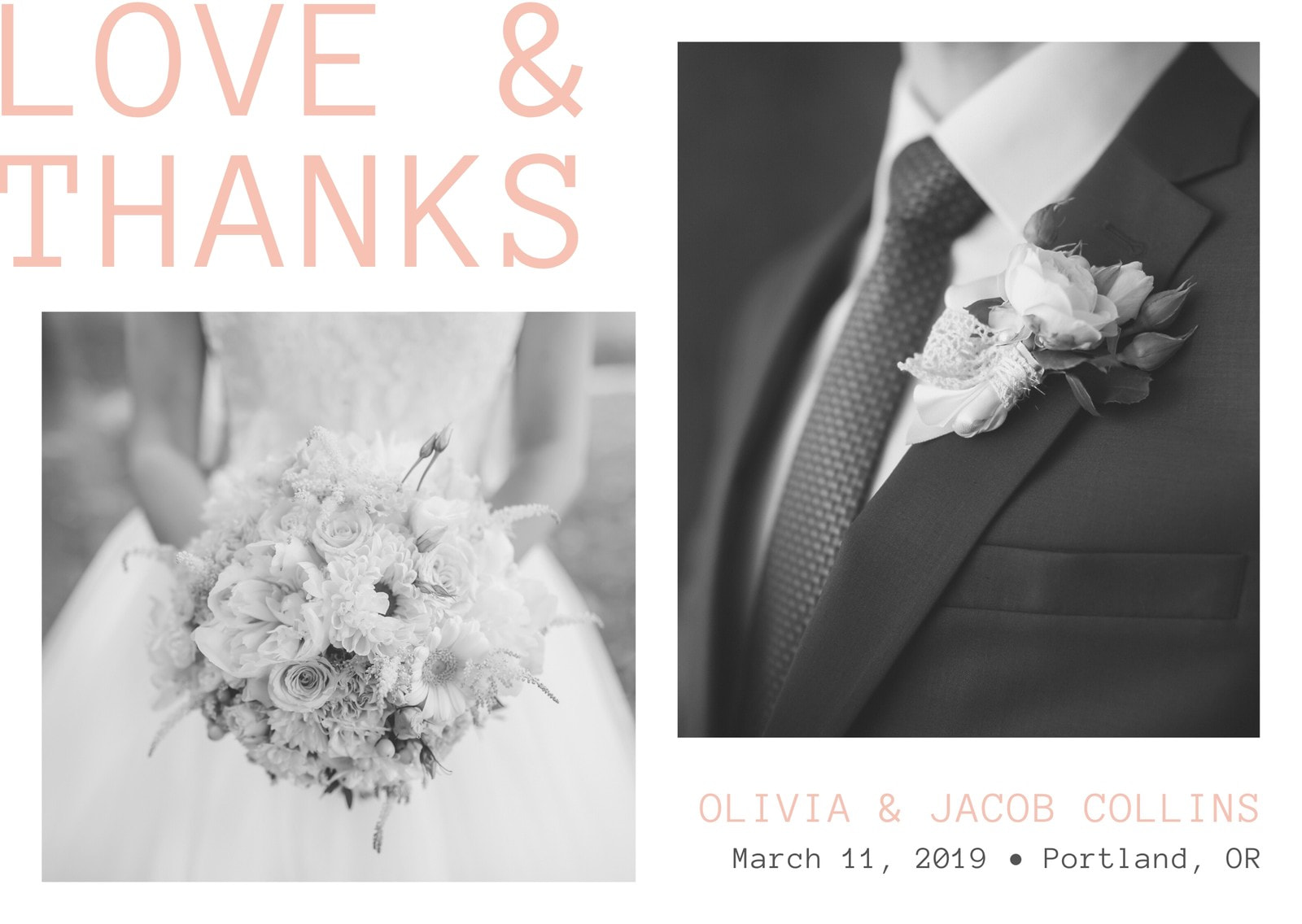 White and Peach Bride and Groom Thank You Wedding Card