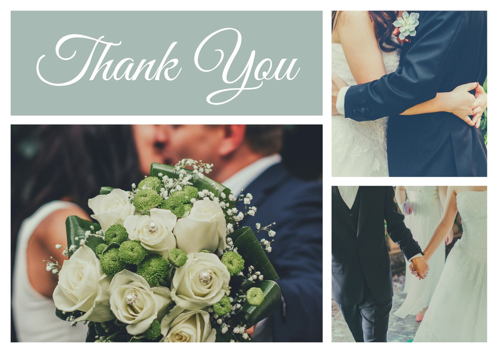 Gray and White Simple Wedding Thank You Card