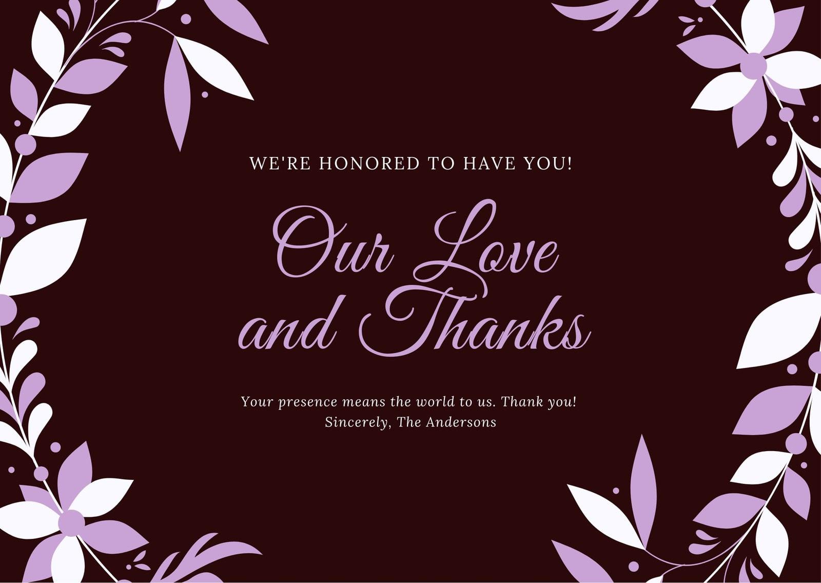 Purple Flower Wreath Wedding Thank You Card