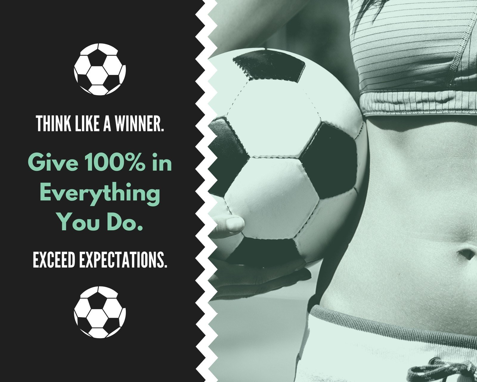 Green and Black Football Quote Sport Photo Collage