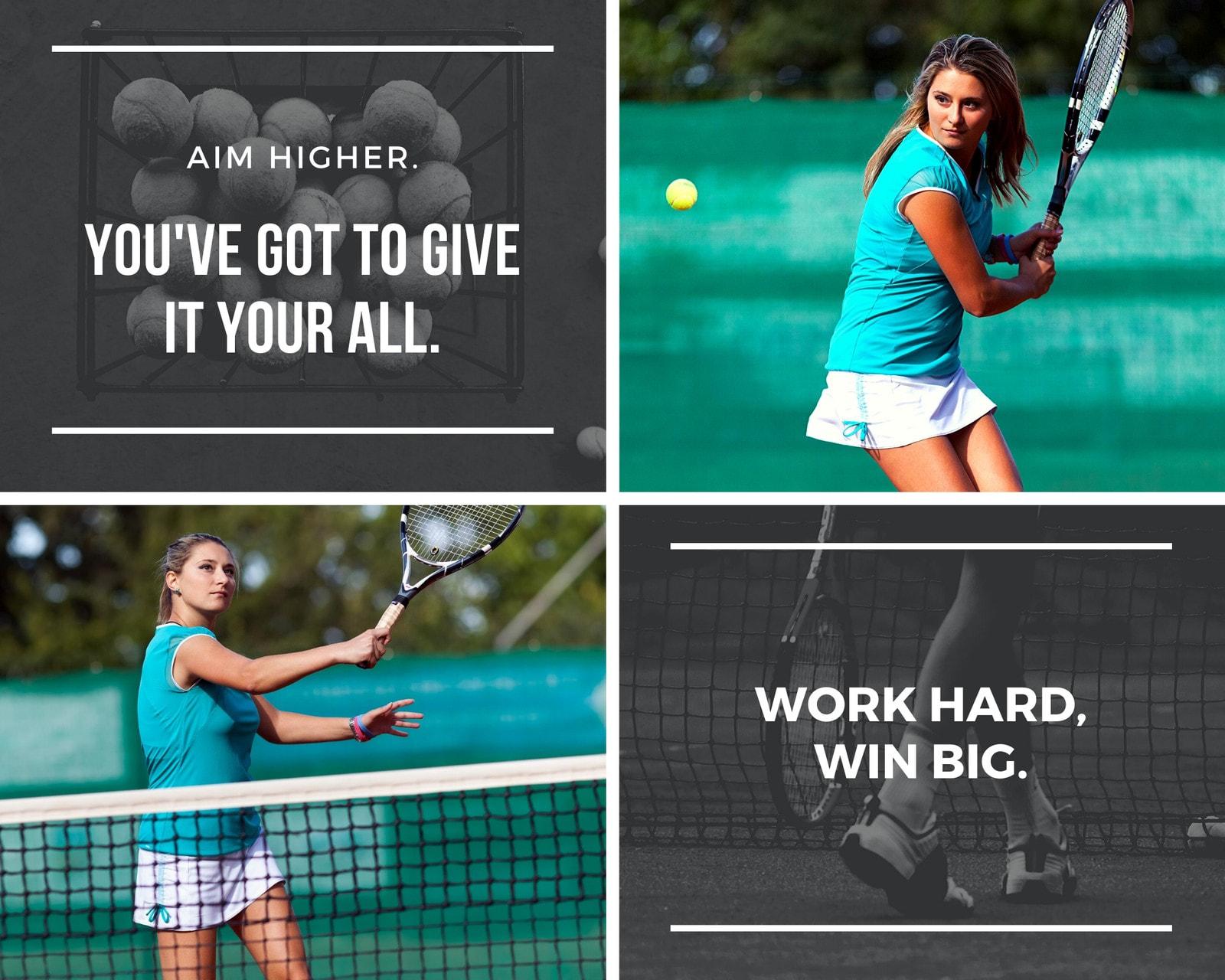 White Text Tennis Sports Photo Collage