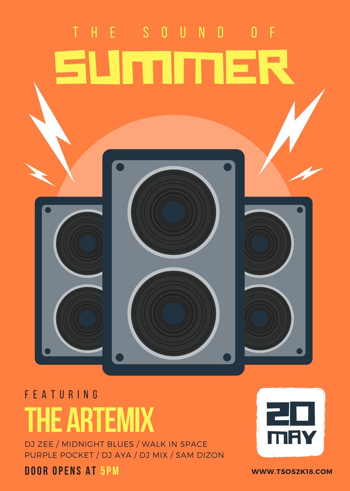 Orange Speaker Illustration Summer Music Party Flyer