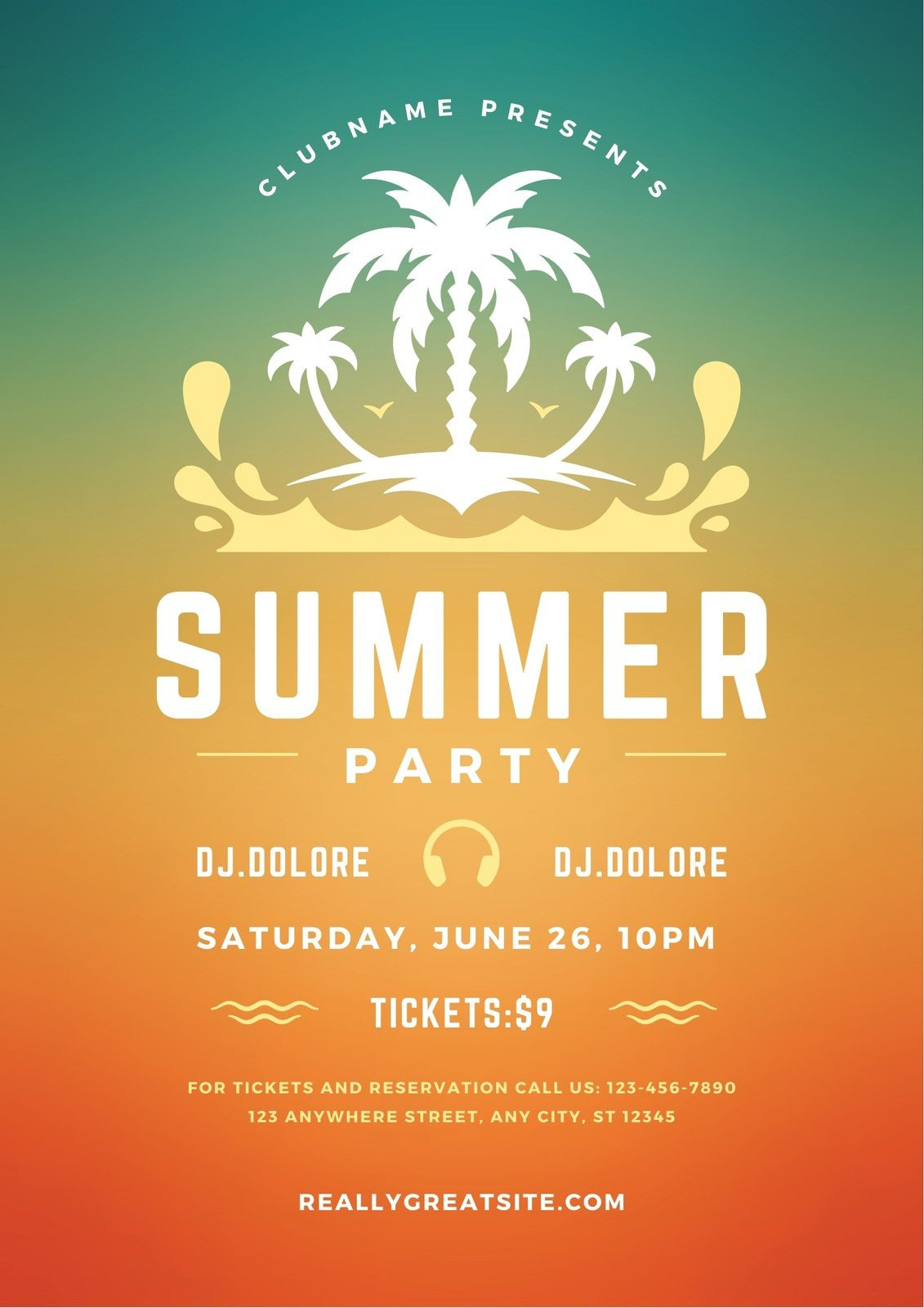 Colourful Gradient Summer Party Invitation Flyer