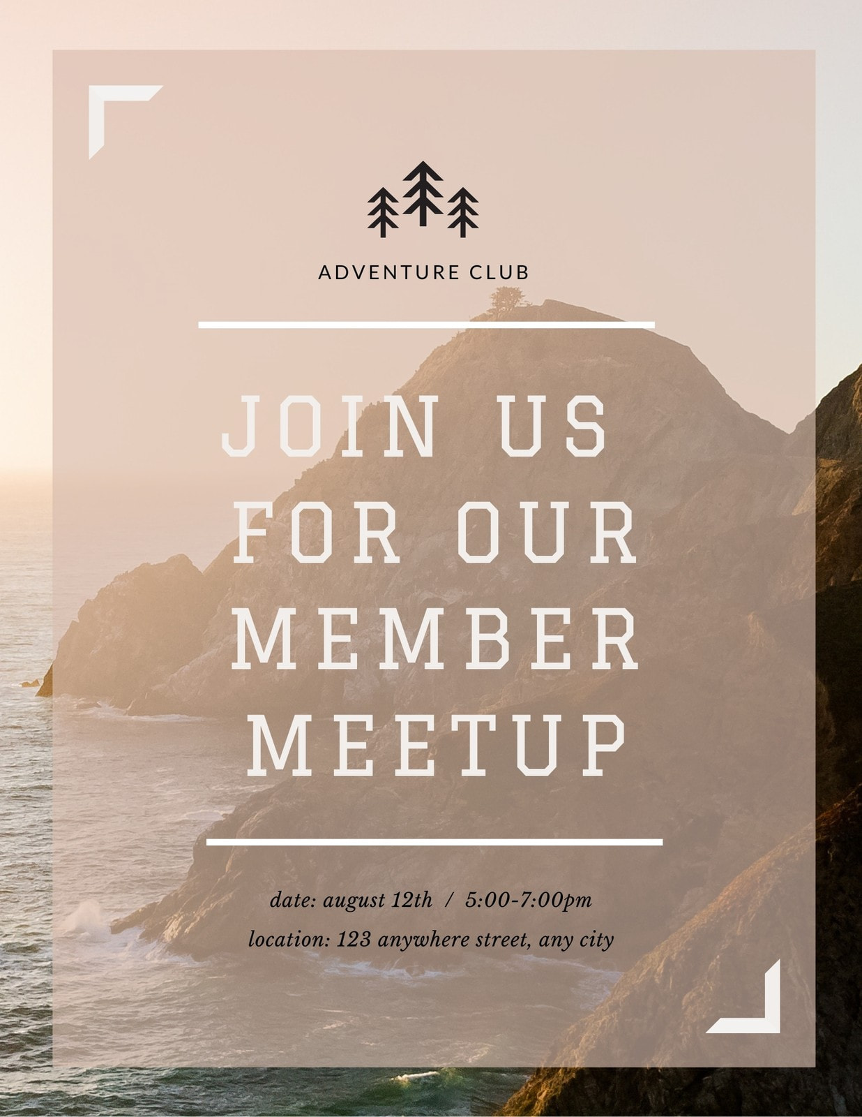 Outdoor Adventure Flyer for Events, Surprise Parties, & Meetings