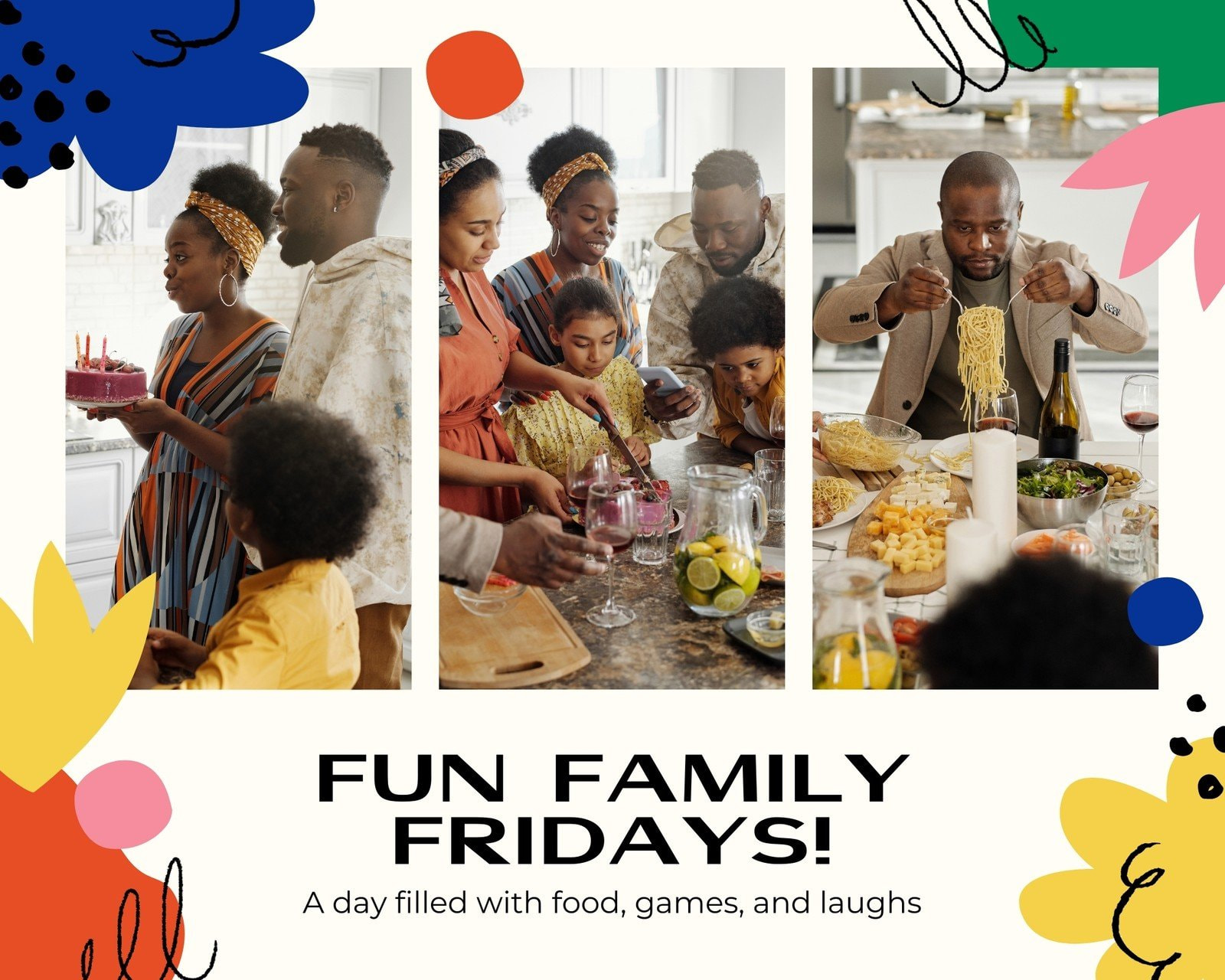 Colorful Bright Abstract Family Animated Photo Collage