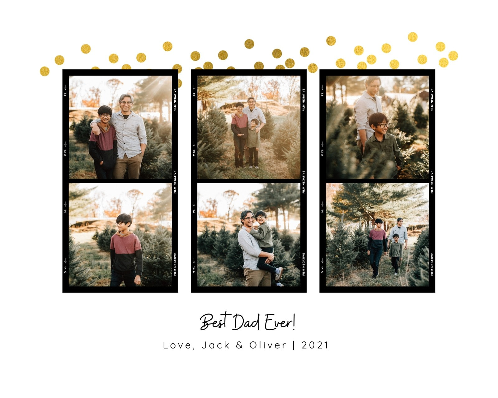 Gold & Black Best Dad Ever Photo Collage