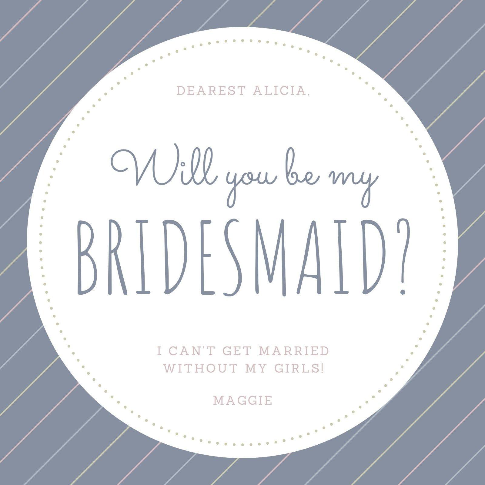 Gray Lines Be My Bridesmaid Invitation
