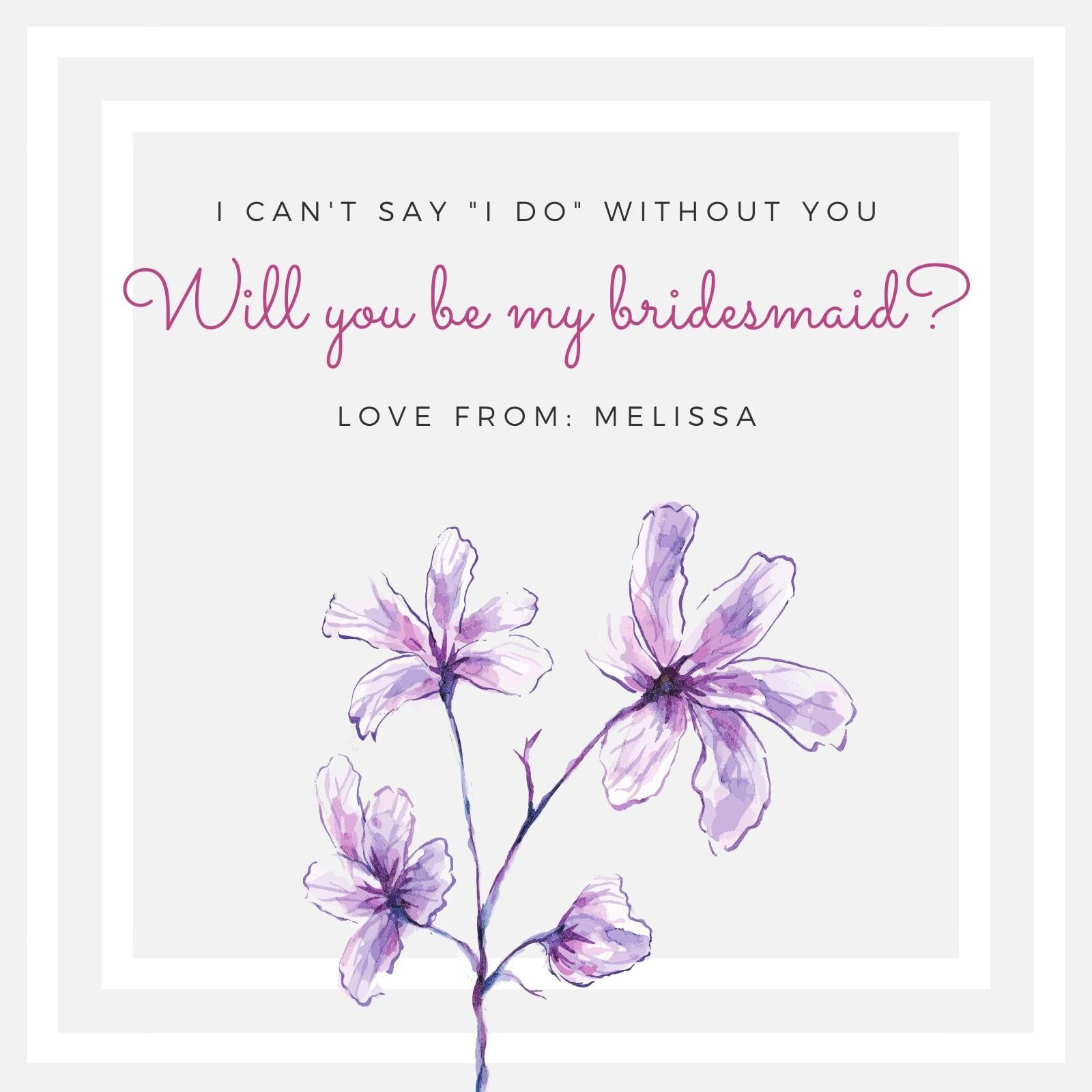 Purple Flower Be My Bridesmaid Invitation