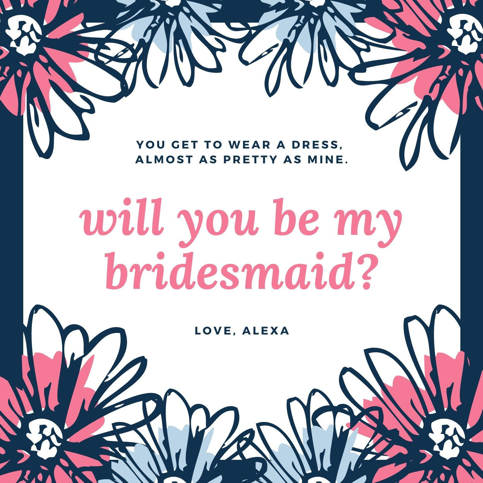 Design a Custom Will You Be My Bridesmaid Card - Canva With Regard To Will You Be My Bridesmaid Card Template
