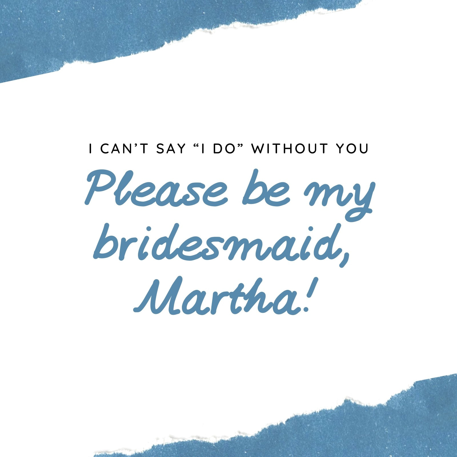 Blue Be My Bridesmaid Invitation