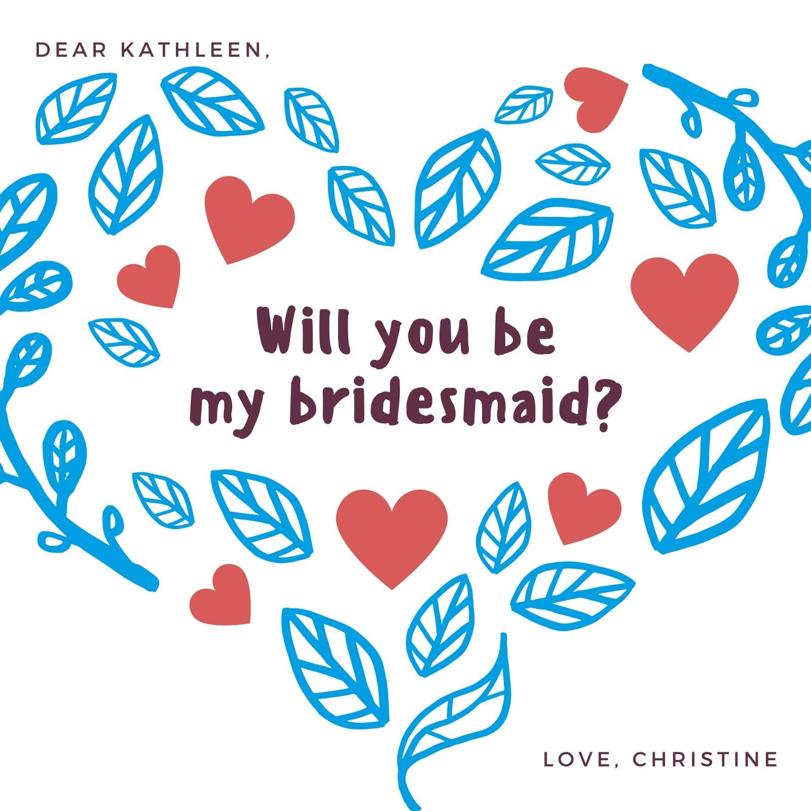 Heart Leaf collage Be My Bridesmaid - Invitation