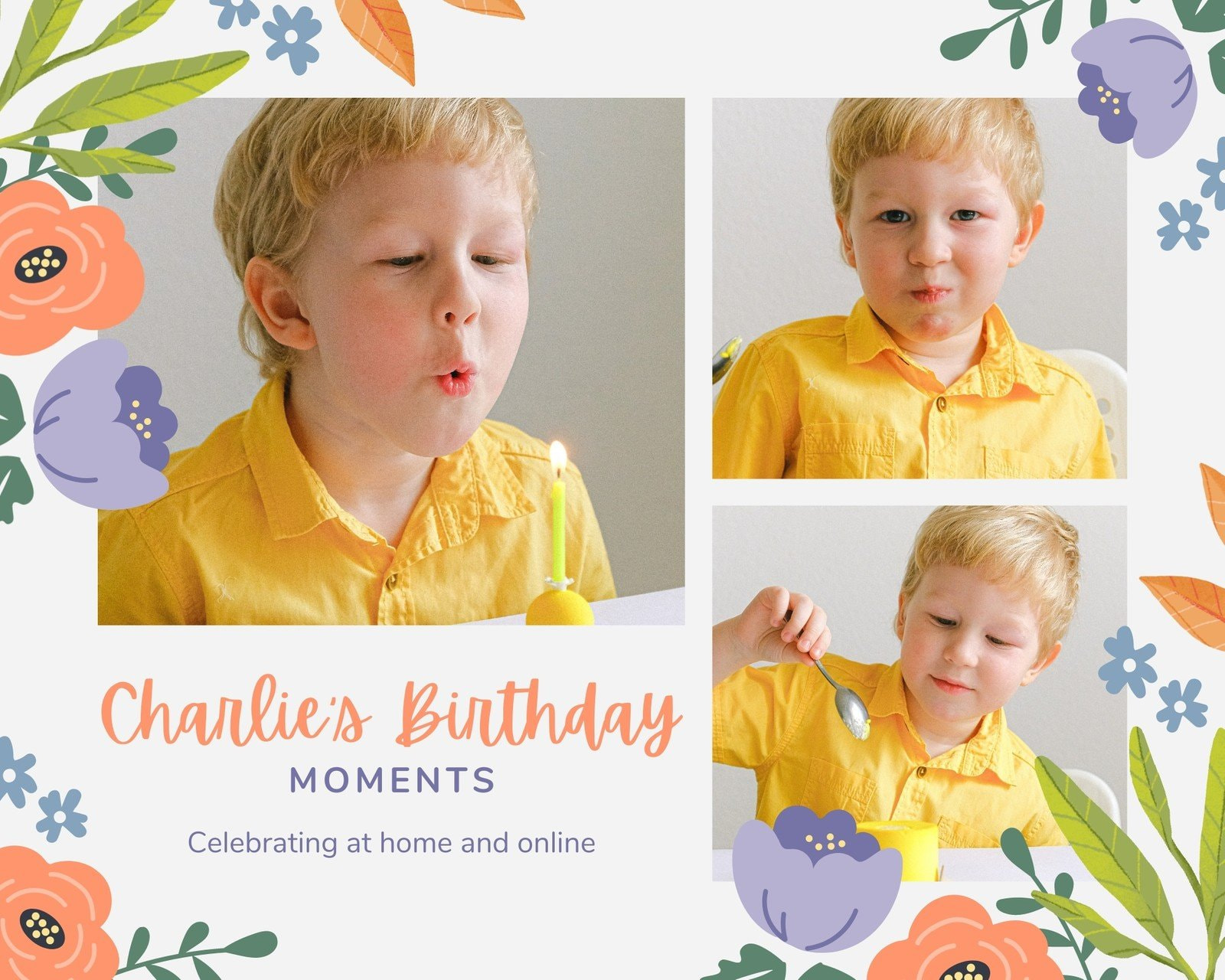 Orange Green and Purple Delicate Floral Birthday Animated Photo Collage