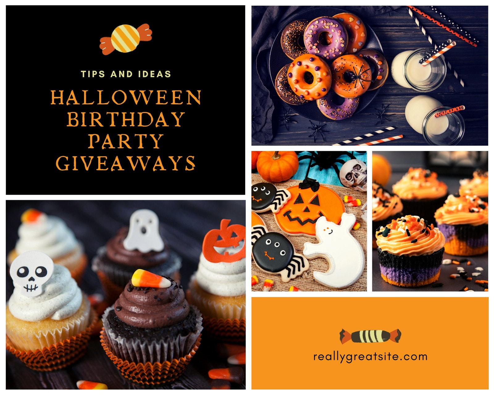 Black and Orange Sweets Halloween Birthday Party Collage