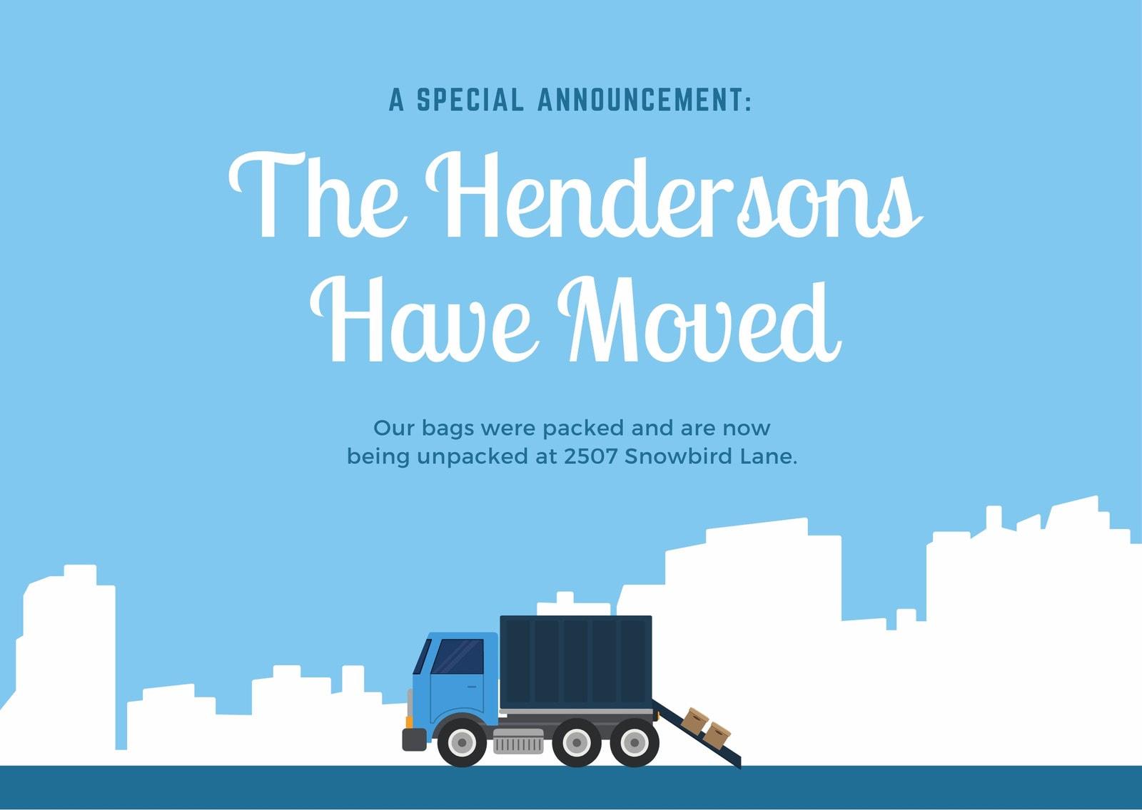 Moving Truck Illustration Change of Address Card