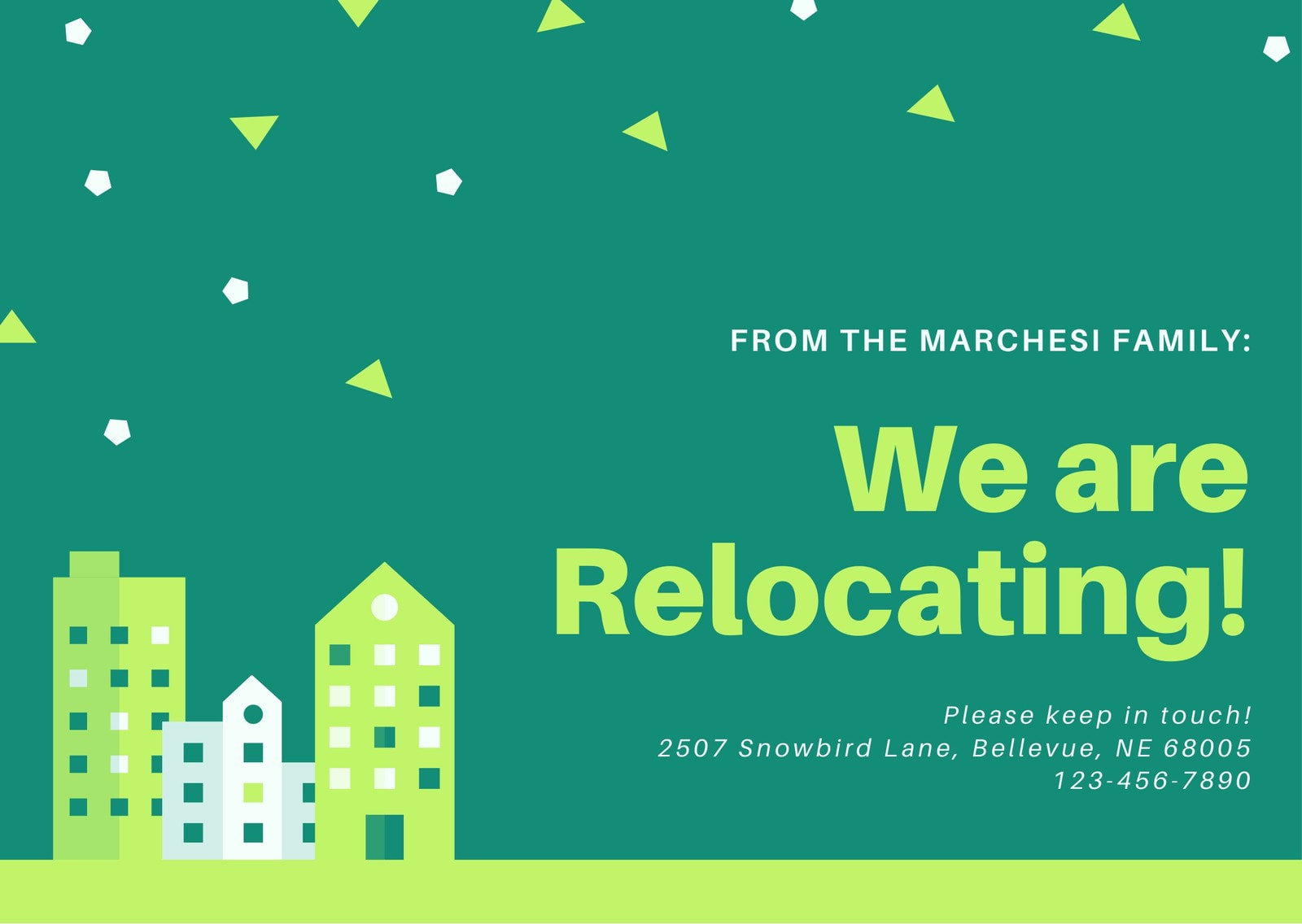 Green Illustrated Buildings Relocation Card