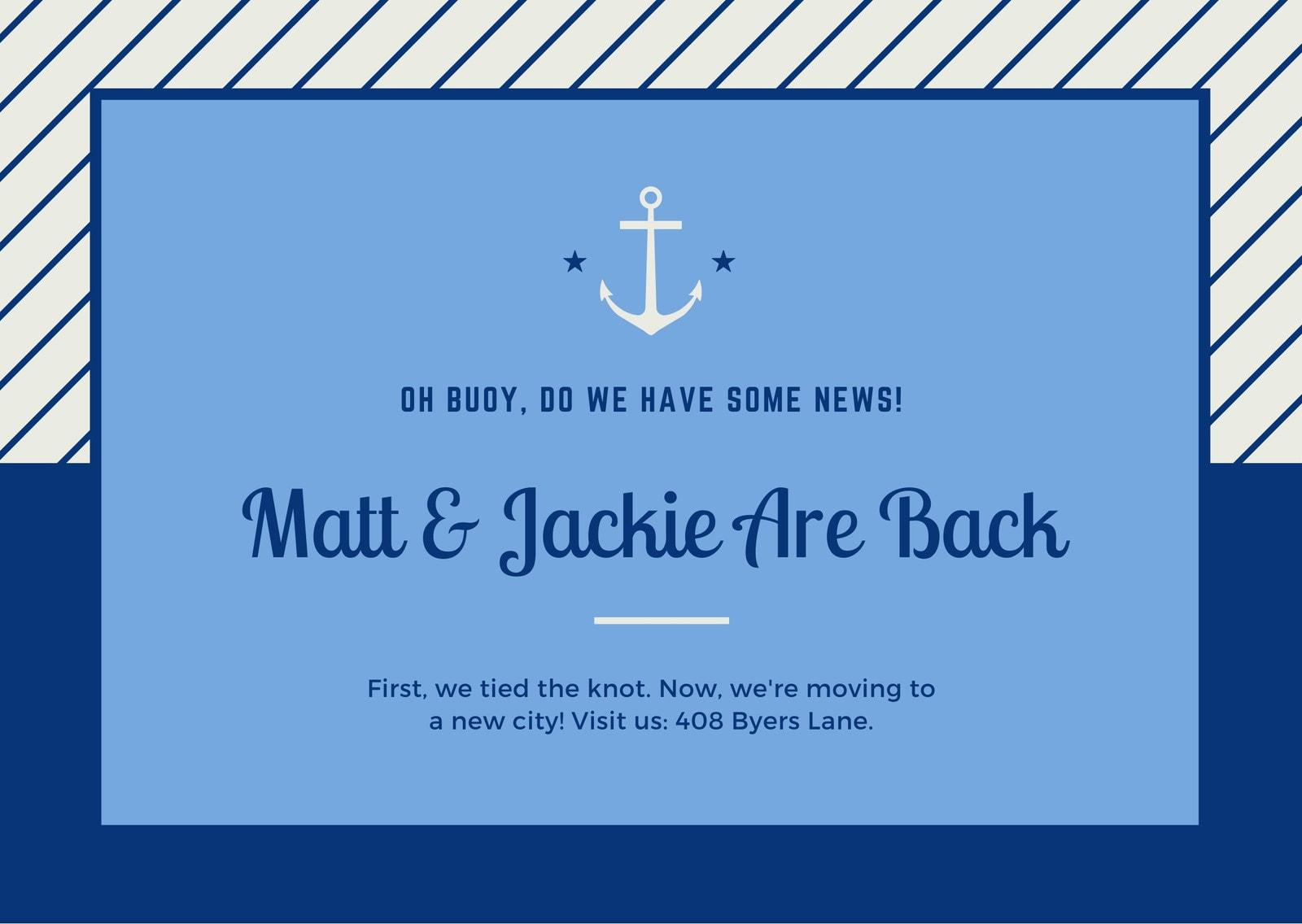 Blue Anchor Change of Address Card