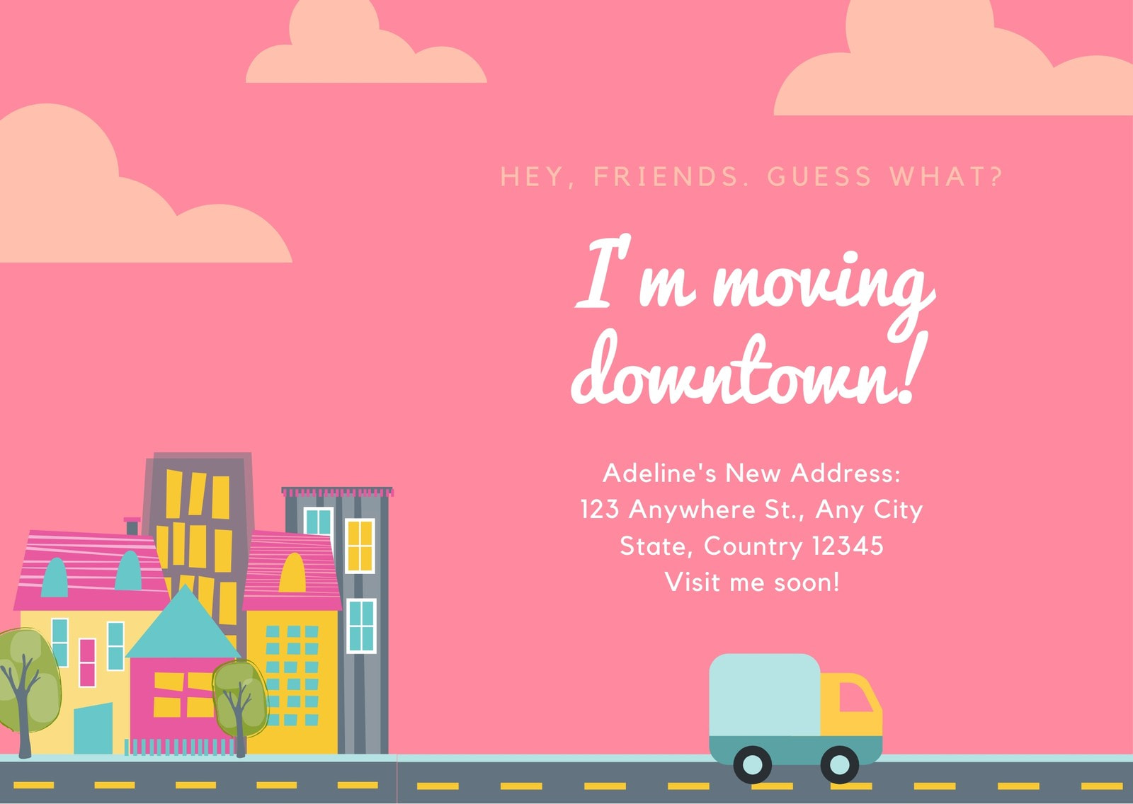 Pink Cityscape Change of Address Card