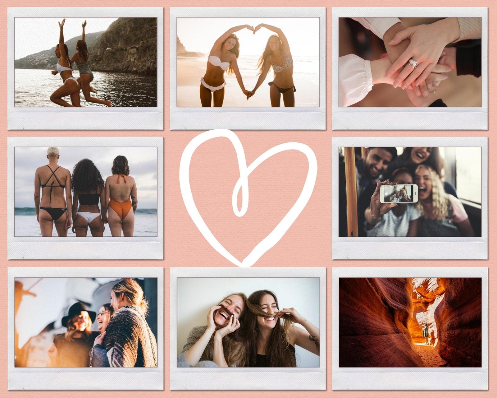 Pink Handdrawn Heart Polaroid Photo Collage