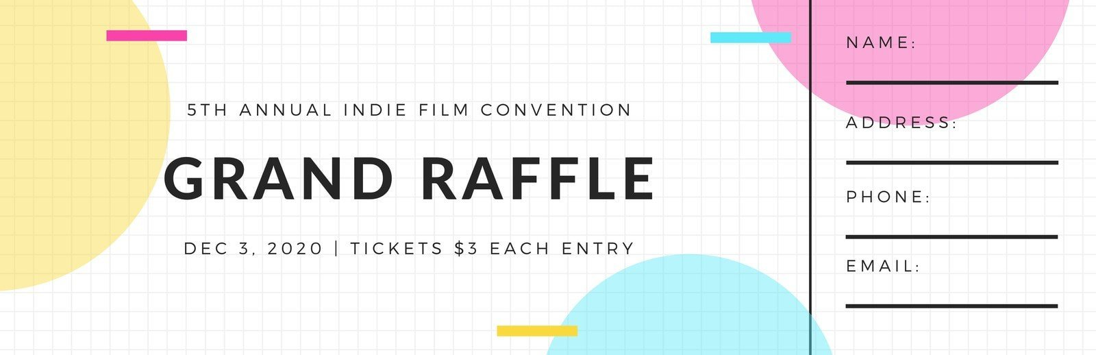 White Grid with Modern Abstract Shapes Raffle Ticket