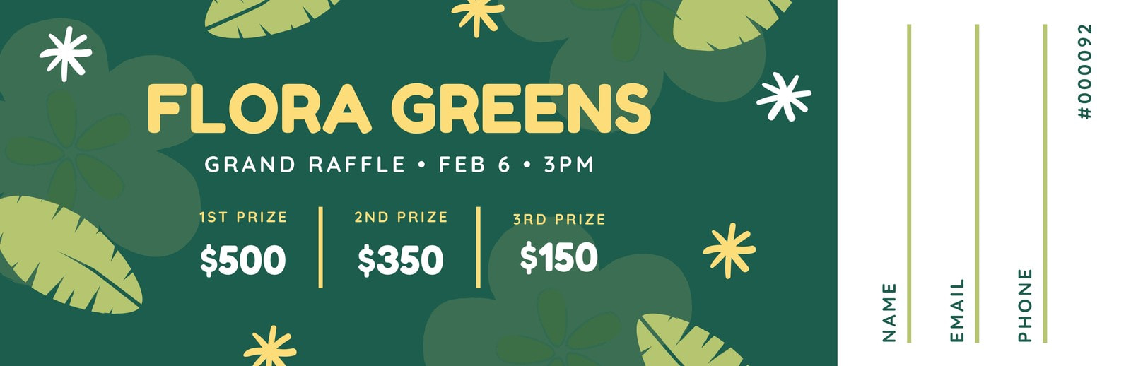 Green Yellow Nature Floral Raffle Ticket