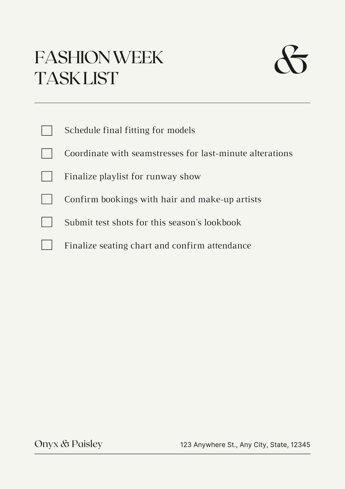 Beige and Black Minimalist Online Fashion Brand Startup Checklist