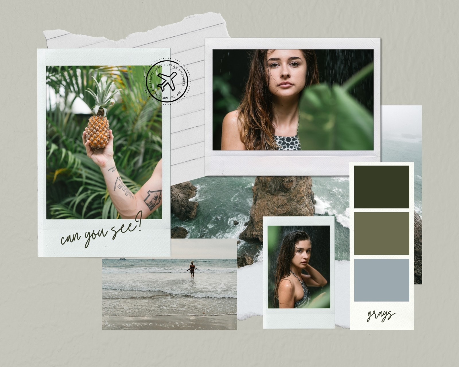 Green and Grey DIY Collage Color Inspiration Moodboard Photo Collage