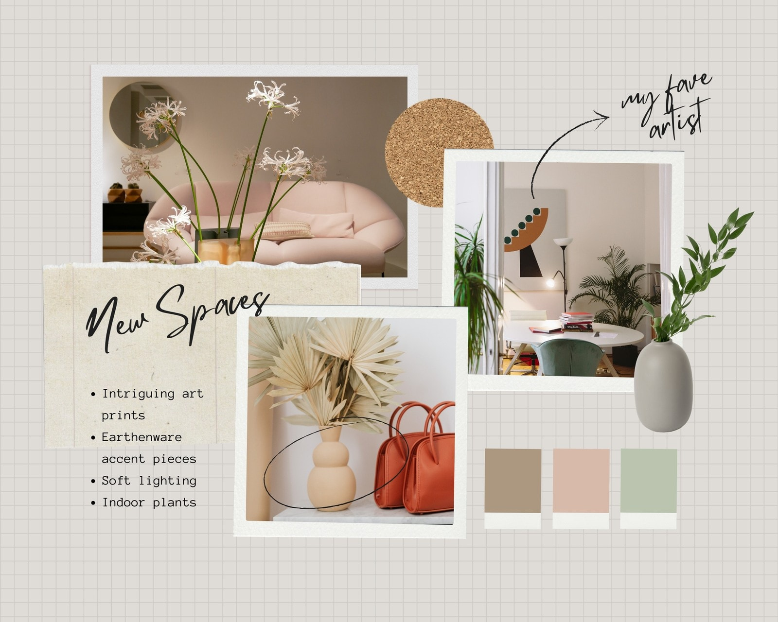 Brown and Green DIY Collage Interior Design Moodboard Photo Collage