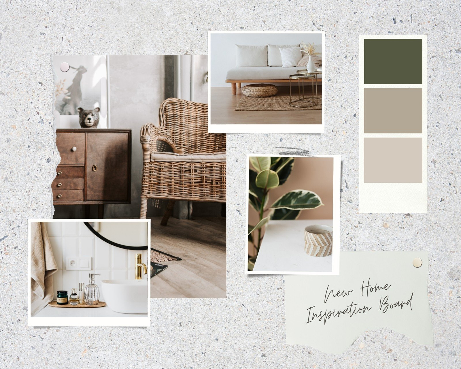 Green and Brown Realistic Interior Design Moodboard Photo Collage